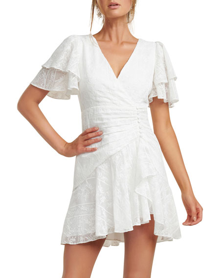 Image 4 of 5: Ever New Embroidered Wing-Sleeve Shirred Mini Dress