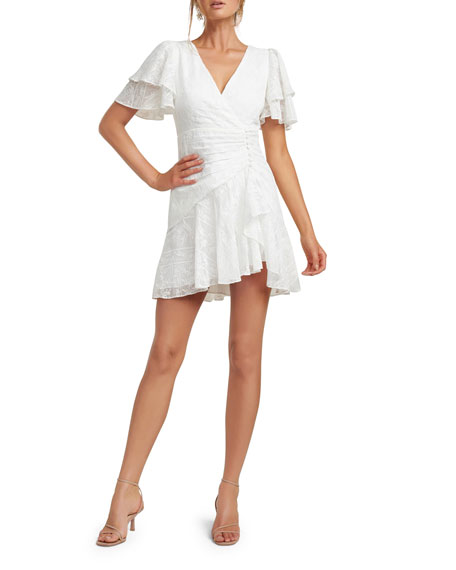 Image 1 of 5: Ever New Embroidered Wing-Sleeve Shirred Mini Dress