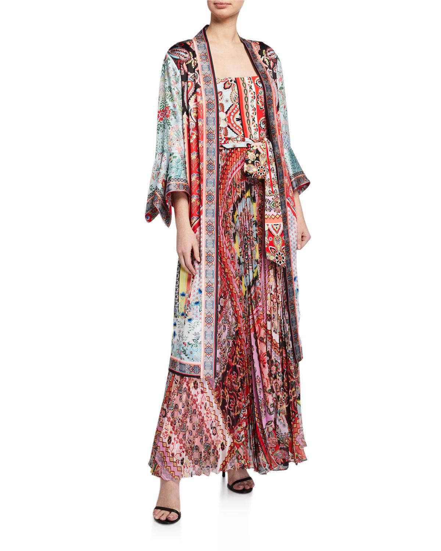 Alice + Olivia Lynn Reversible Side-Slit Long Kimono & Matching Items