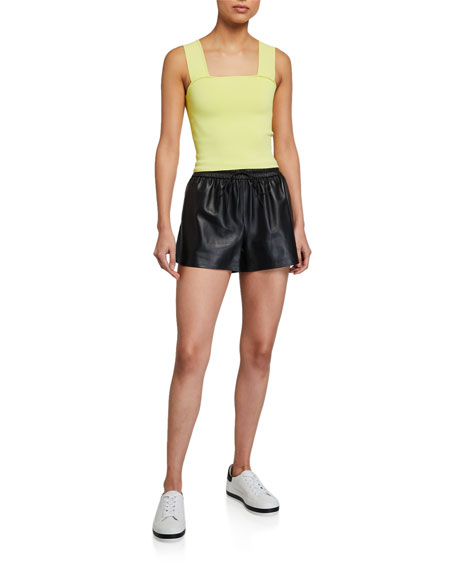 Alice + Olivia Ludlow Leather Smocked-Waistband Shorts