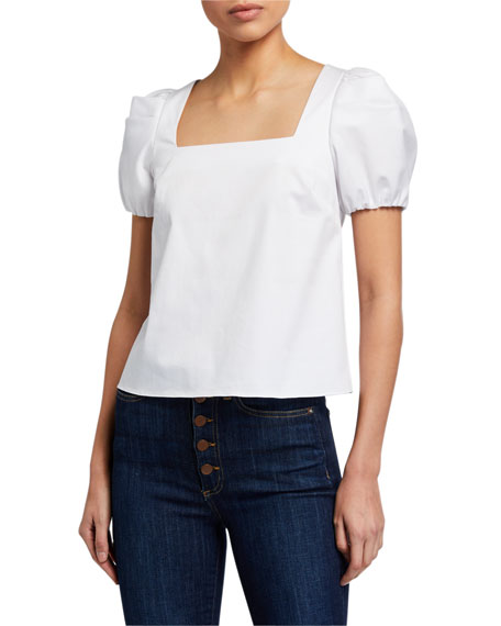 Alice + Olivia Bernice Square-Neck Gathered-Sleeve Top