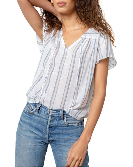 Image 2 of 5: Rails Viera Striped Short-Sleeve Top