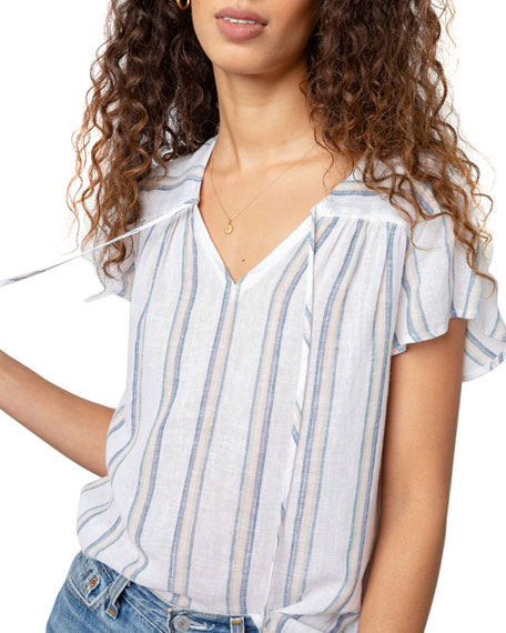 Image 3 of 5: Rails Viera Striped Short-Sleeve Top