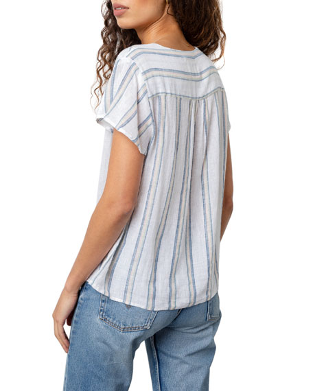 Image 4 of 5: Rails Viera Striped Short-Sleeve Top