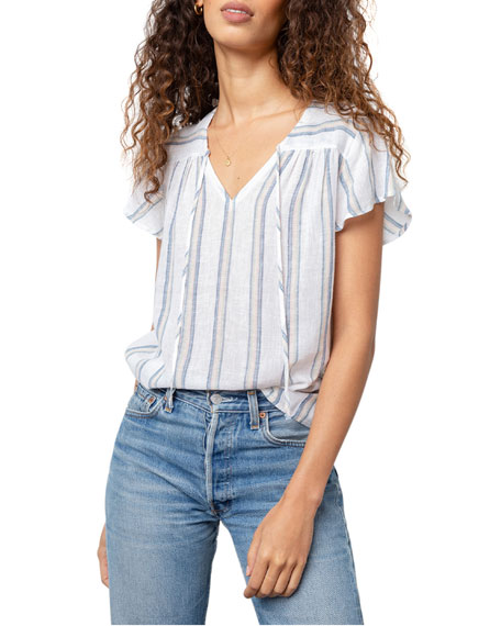 Image 1 of 5: Rails Viera Striped Short-Sleeve Top
