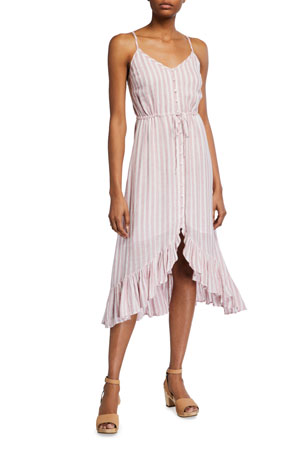 Rails Frida Striped Button-Up Midi Dress