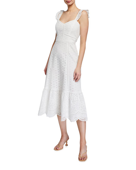 Image 1 of 2: Parker Genevieve Scalloped Eyelet Midi Dress