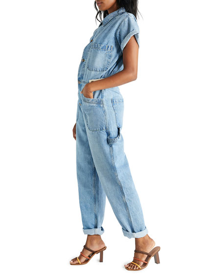 Image 2 of 3: etica Andi Short-Sleeve Denim Jumpsuit