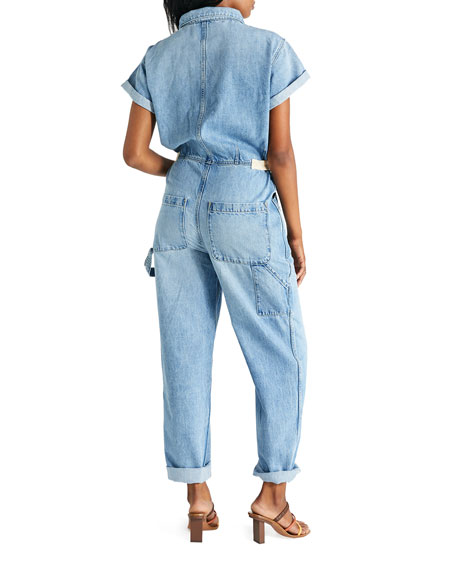 Image 3 of 3: etica Andi Short-Sleeve Denim Jumpsuit