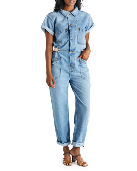 Image 1 of 3: etica Andi Short-Sleeve Denim Jumpsuit