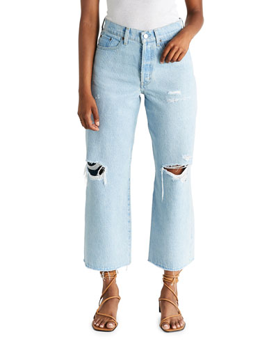 Devon Cropped Wide-Leg Jeans with Knee Rip