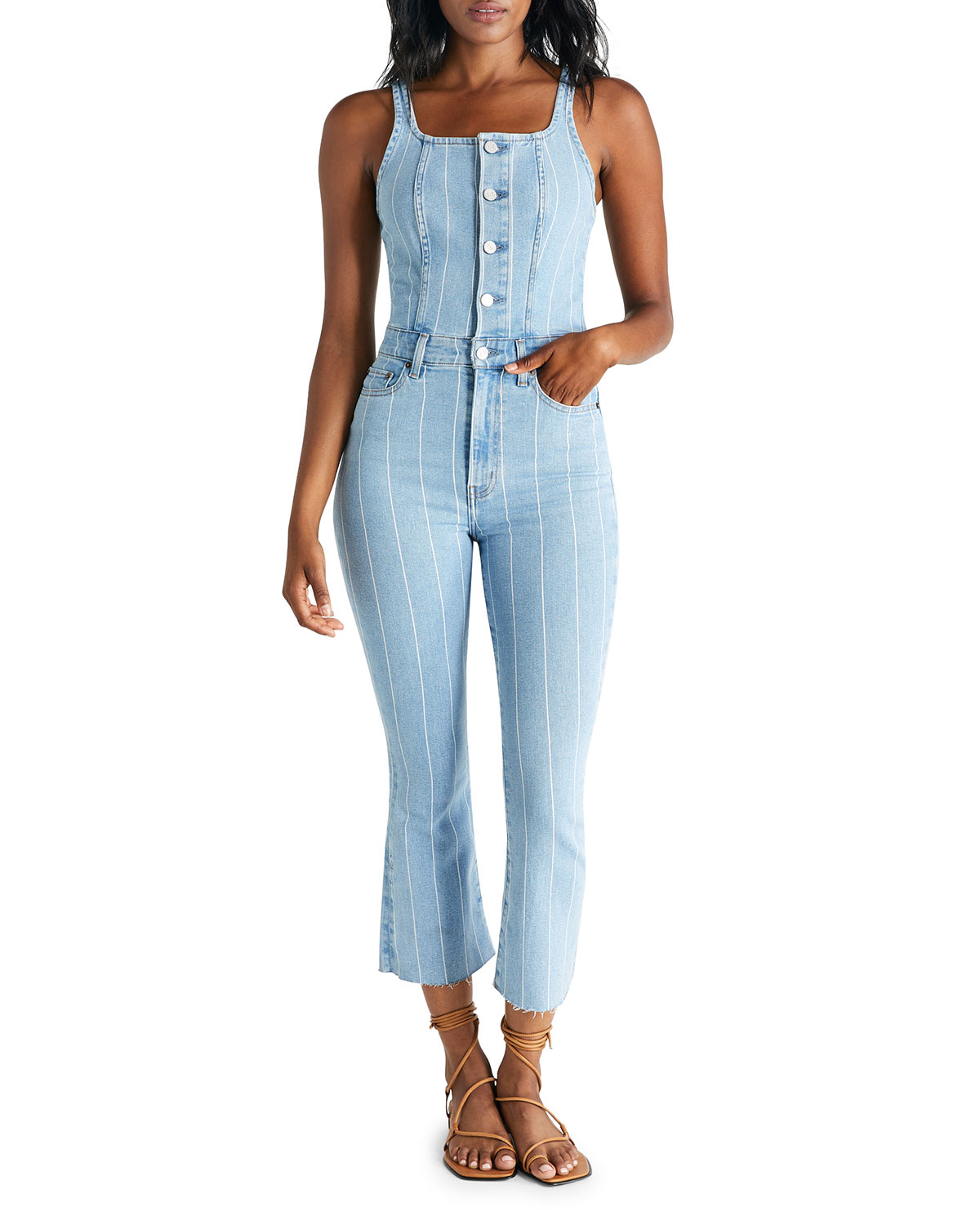 etica Ivy Striped Denim Overalls
