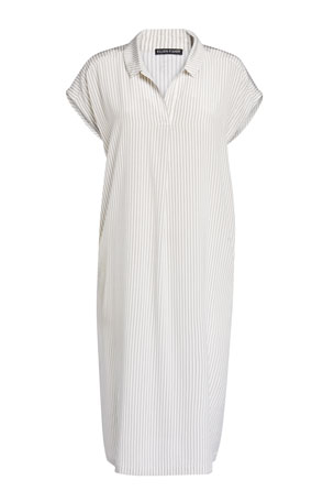 Eileen Fisher Striped Silk Crepe De Chine Dress