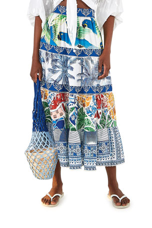 Farm Rio Tile Print Midi Skirt