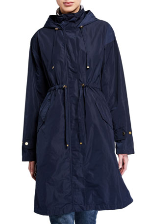 Barbour Harper Long Detachable-Hood Raincoat