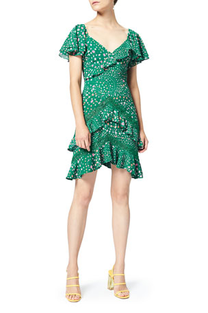 Three Floor Elsie Floral-Print Ruffle Dress