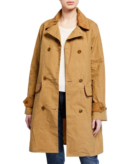 Image 2 of 4: Barbour Haydon Double-Breasted Cotton Trench Coat