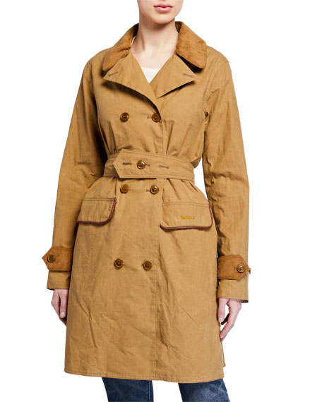 Image 1 of 4: Barbour Haydon Double-Breasted Cotton Trench Coat