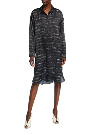 Eileen Fisher Dashes Silk/Organic Cotton Shirtdress