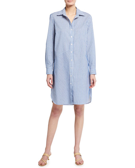 Image 2 of 3: Finley Bailey Chenille Stripe Button-Down Shirtdress