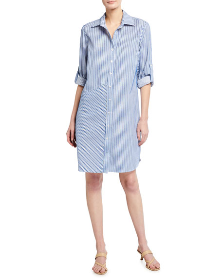 Image 1 of 3: Finley Bailey Chenille Stripe Button-Down Shirtdress