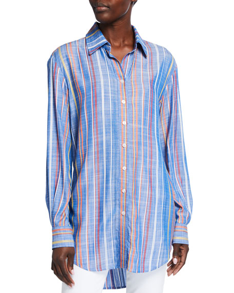 Image 1 of 2: Finley Monica Grover Stripe Button-Down Shirt