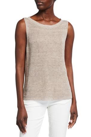 Eileen Fisher Sleeveless Organic Linen Melange Sweater