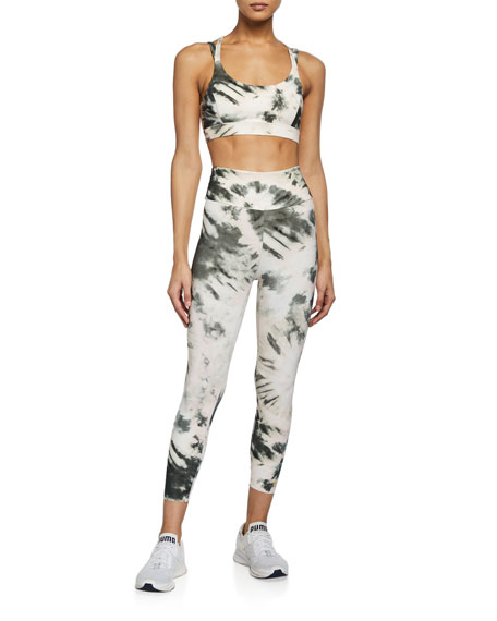 Image 3 of 3: Aurum Nebula Tie-Dye High-Waist Active Leggings