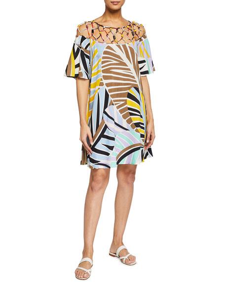 Emilio Pucci Short Leaf-Print Coverup Sundress
