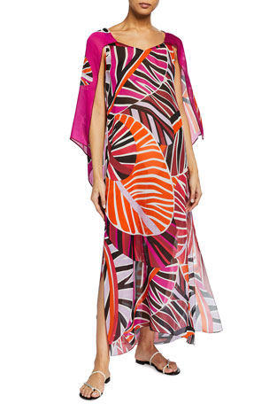 Emilio Pucci Long Split-Sleeve Leaf-Print Coverup Dress