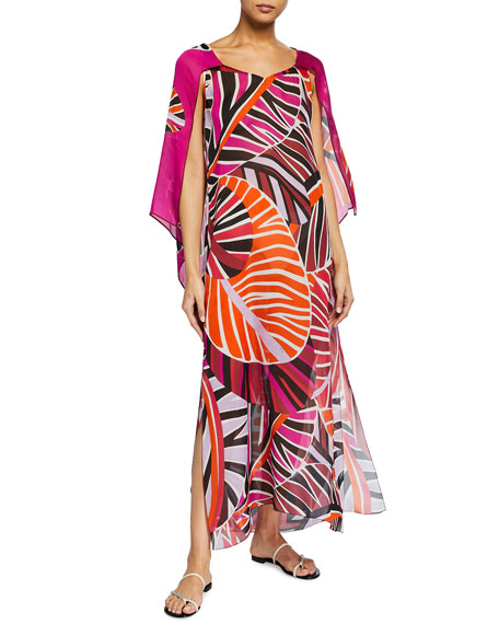 Emilio Pucci Long Split-Sleeve Leaf-Print Coverup Dress