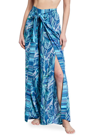 La Blanca Sketched Leaves Printed Tie-Front Coverup Pants