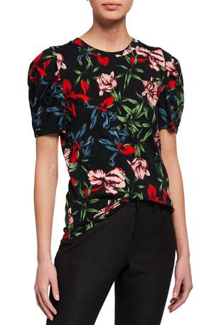 Pam & Gela Bali Hai Puff-Sleeve Floral-Print Tee