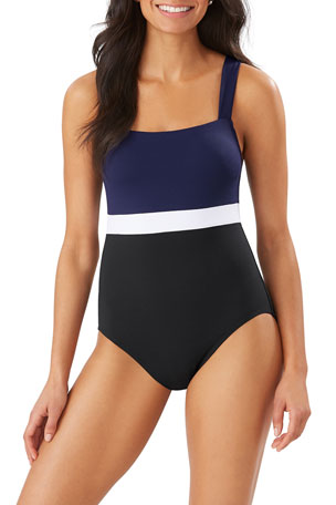 Tommy Bahama Colorblock Square-Neck One-Piece Swimsuit