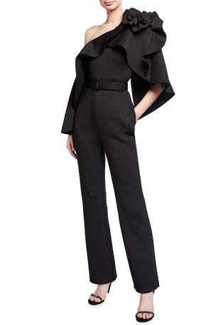 Badgley Mischka Collection Jan Back Capelet Asymmetric Ruffle Jumpsuit