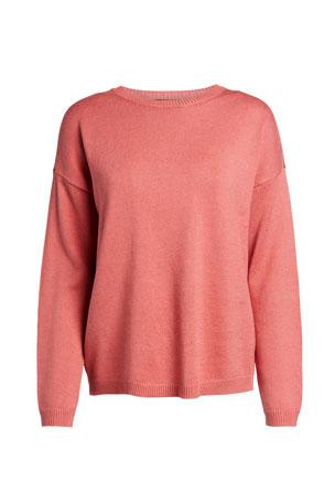 Eileen Fisher Crewneck Long-Sleeve Organic Linen/Cotton Sweater