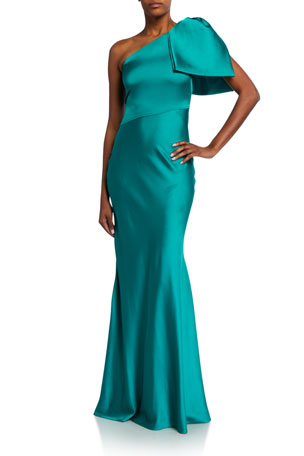 Sachin & Babi Aubrey Bow-Shoulder Charmeuse Gown