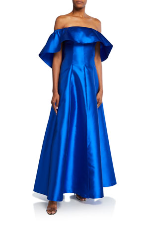 Sachin & Babi Wynne Off-the-Shoulder Popover Gown