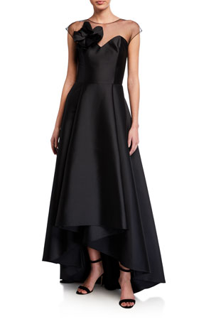 Sachin & Babi Blakely High-Low Stretch Mikado Illusion Gown