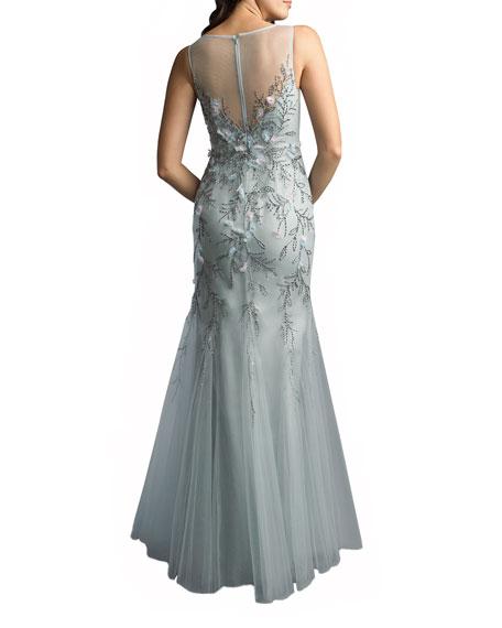 Basix 3-D Embellished Sleeveless Godet Sheath Gown