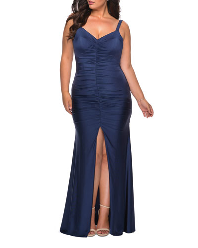 Plus Size Sleeveless Jersey Gown with Ruching