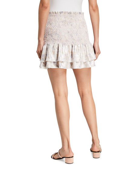 Likely Kenzie Floral-Print Ruffle Mini Skirt