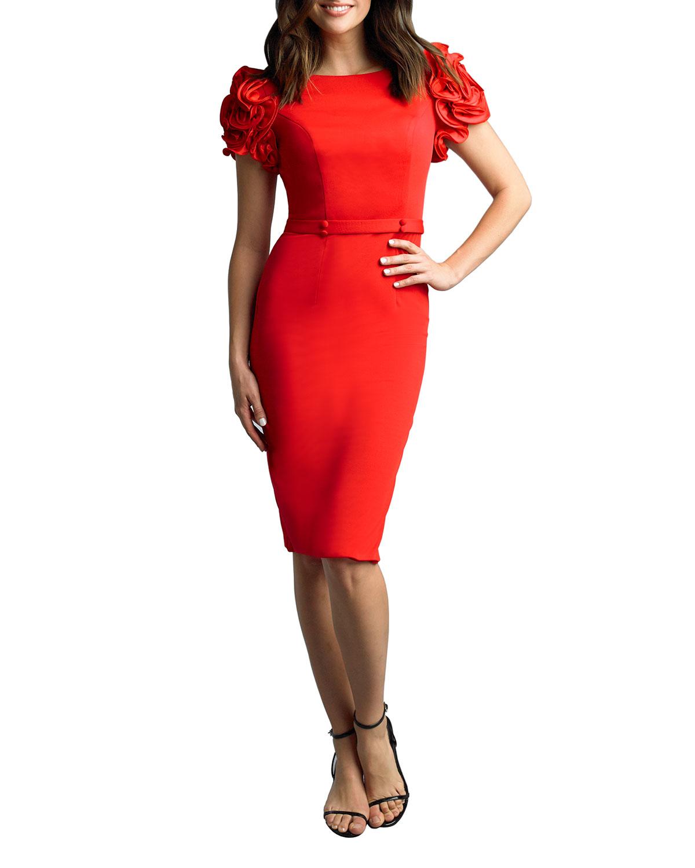 Basix Bateau-Neck Satin Rosette Sleeve Cocktail Dress