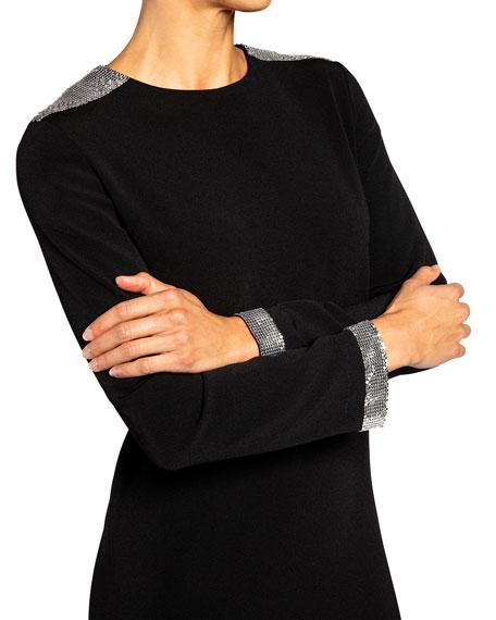 Santorelli Ariana Crepe Shift Dress w/ Chainmail Shoulder Detail