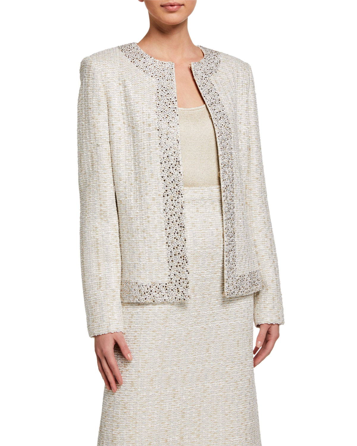 St. John Collection Tweed Sequined Jacket