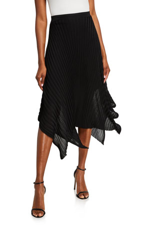 St. John Collection Reverse Jersey Pleated Knit Skirt