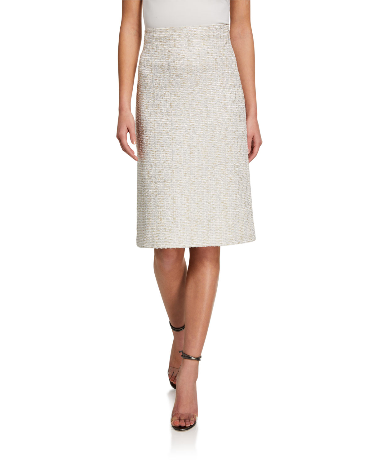 St. John Collection Structured Caged Inlay Knit High-Waist A-Line Skirt