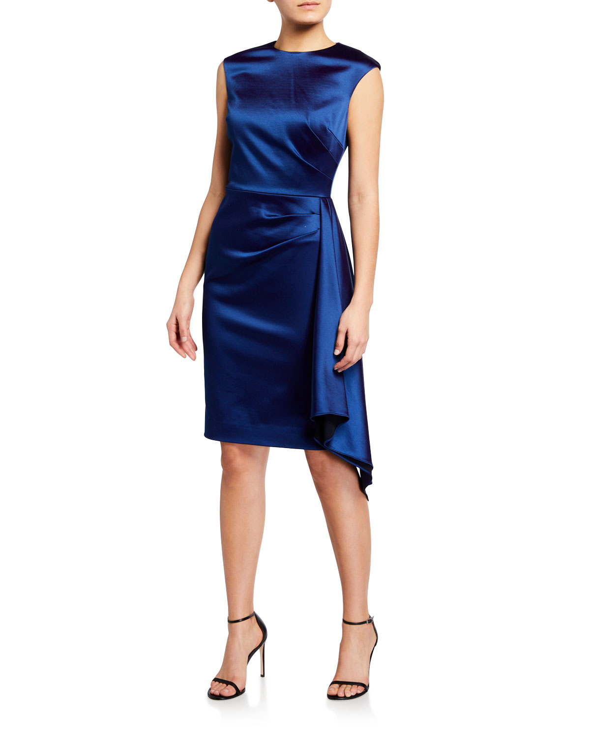 Rickie Freeman for Teri Jon Cap-Sleeve Side-Draped Satin Sheath Dress