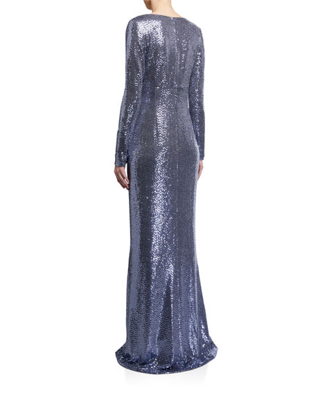 Rickie Freeman for Teri Jon Metallic Sequin Jersey Side Drape Ruffle Gown