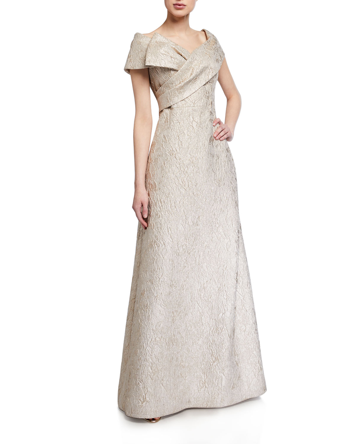 Rickie Freeman for Teri Jon Off-the-Shoulder Brocade A-Line Gown